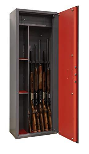 Domus ARM061350 Armadio Portafucili a 6 Posti con Tesoretto, Serratura a Chiave, Grigio Scuro