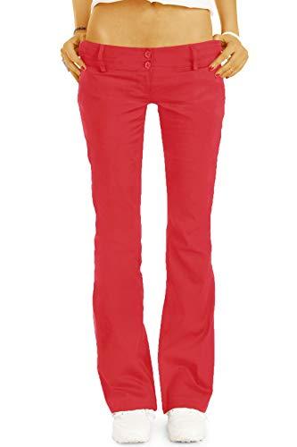bestyledberlin BE Styled Damen Chinos - Stoffhosen - Bootcut Hüfthosen mit Stretch h17a 42/XL rot