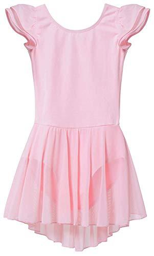 MdnMd Dance Ballet Leotard for Girls with Skirt Dress Tutu Pink Flutter Sleeve (Toddler/Age 2-4)