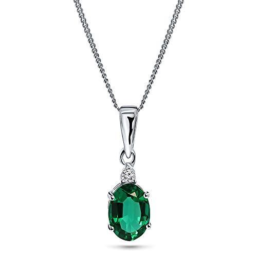 Miore Kette Damen 0.02 Ct Diamant Halskette mit ovalem Anhänger Edelstein/Geburtsstein Smaragd in grün Kette aus Weißgold 9 Karat / 375 Gold, Halsschmuck mit Diamanten Brillanten 45 cm lang