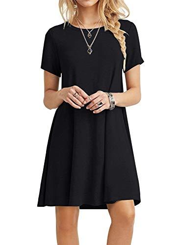 POPYOUNG Women's Summer Casual T Shirt Dresses Swing Beach Dress 3XLarge, Black