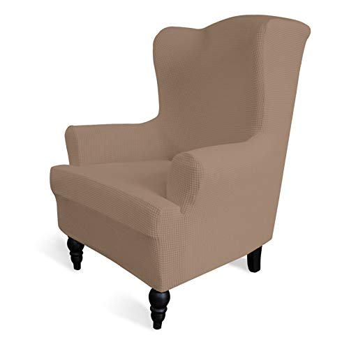 Greatime Stretch Wingback Chair Sofa Slipcover 1-Piece Sofa Cover Furniture Protector Couch Soft with Elastic Bottom Spandex Jacquard Fabric Small Checks(Wing Chair,Camel)