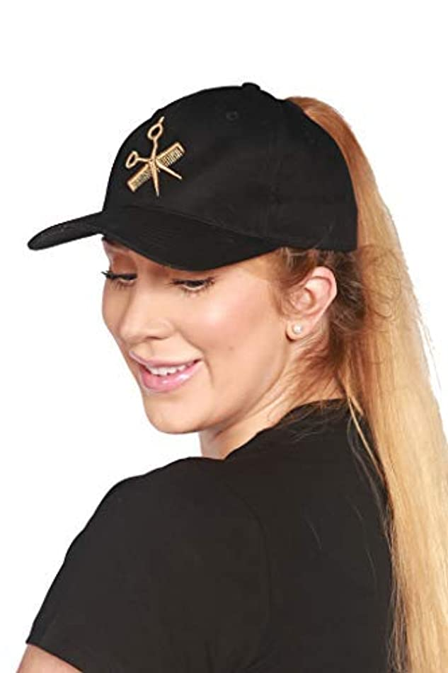 Ladybird Line Black Ponytail Baseball Cap with Gold Shear and Comb Embroidery