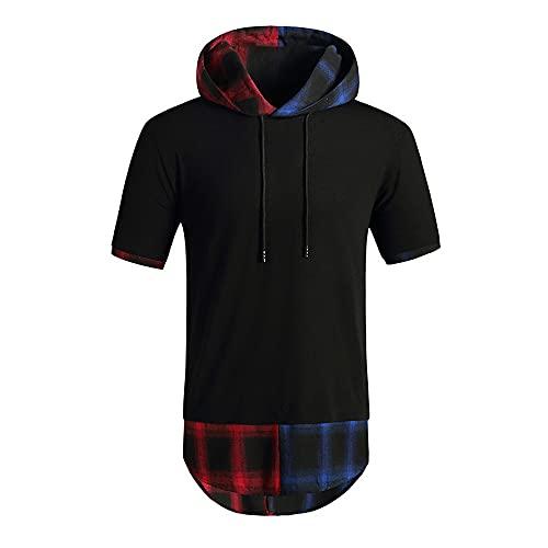 XPDD Mens T-Shirts-Mens Hip Hop Short Sleeve Pullover Hoodies t Shirts Men's Gym Tank Tops Sports T Shirt Sleeveless Thin Fitness Muscle Hoodies Swearshirt Tops Short Sleeve Shirts Black
