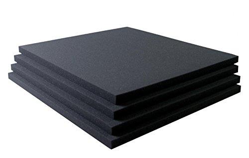 Akustikschaumstoff Breitbandabsorber glatt RG26-500mm x 500mm x 20mm- 4er Set – 1m²