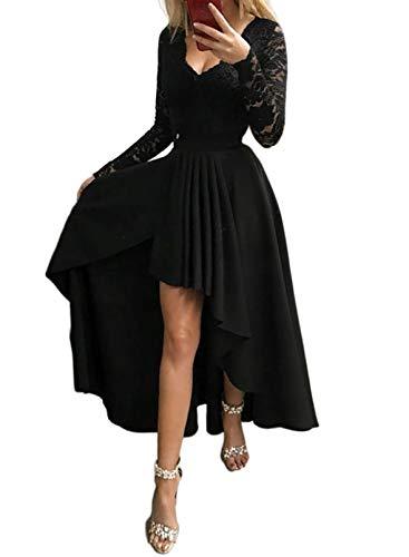 CORAFRITZ Sexy Damen-Kleid, einfarbig, Spitze, V-Ausschnitt, lange Ärmel, rückenfrei, Reißverschluss, unregelmäßiger Saum, Abendkleid, Partykleid Gr. Small, Schwarz