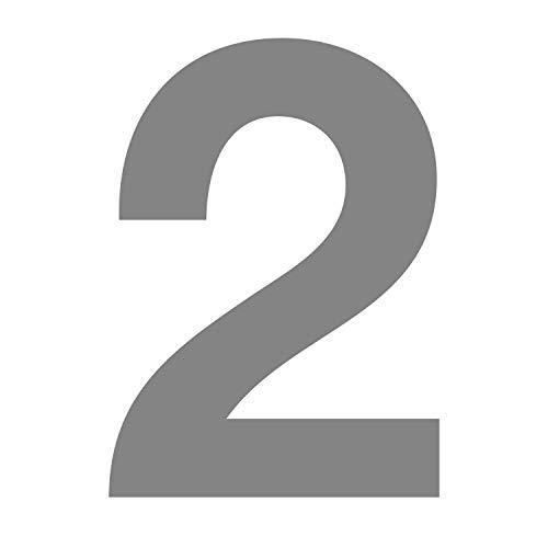 Número 2 en plata, altura 10 cm, autoadhesivo, número de casa, para...
