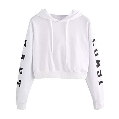 YEBIRAL Damen Hoodie Mädchen Kapuzenpulli Briefdruck Bauchfrei Pullover Oberteile Kurz Sport Crop Tops Sweater Sweatshirt Sweatjacke(S,Weiß)