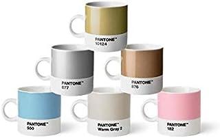 Pantone Lot de 6 tasses à expresso en porcelaine de 120 ml, café avec anse, passe au lave-vaisselle, couleurs pastel et métal