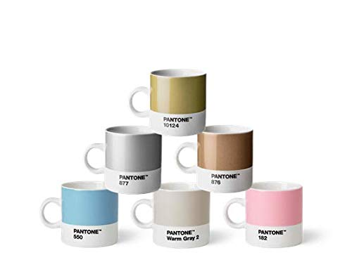 Pantone Porzellan Espressobecher 6er-Set, 6 Espressotassen à 120 ml, Coffee, mit Henkel, spülmaschinenfest, Pastell-und Metallfarben