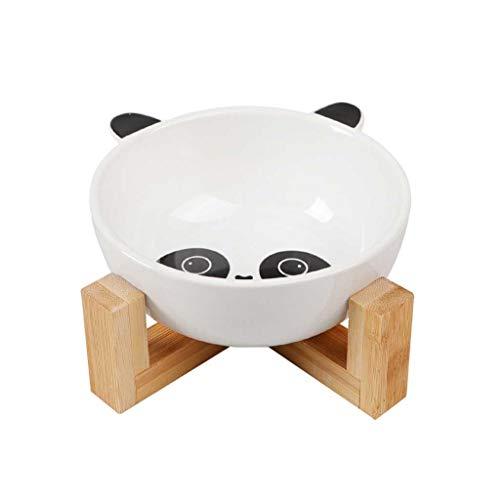 Cartoon Keramik Katzennapf Mit Holz Stand-Nr Spill Pet Food Wasser-Zufuhr-Katzen-nette Kleine Hunde Rice Bowl For Small Medium Größe Hund Katze (Color : Fox)