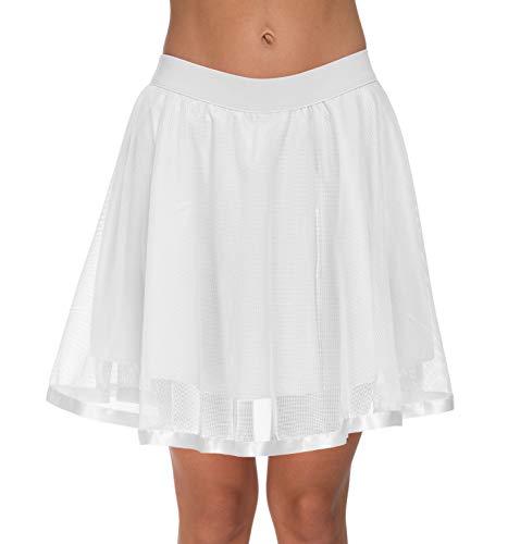 Women's Above Knee Tutu Tulle Petticoat Prom High Waist Mesh Flared Skater Skirt (Large, White)