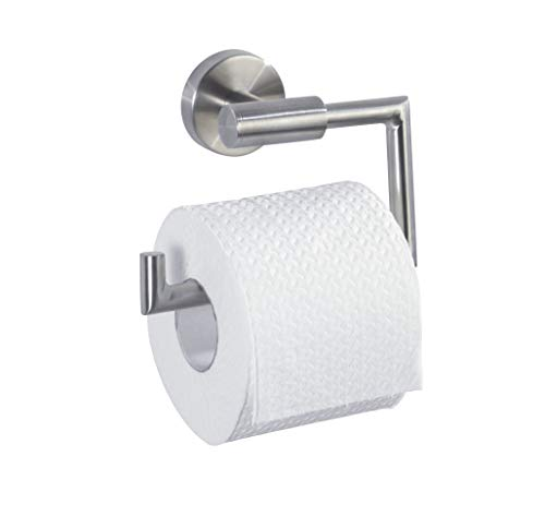 WENKO Toilettenpapierhalter Bosio Edelstahl matt - WC-Rollenhalter, ohne Deckel, Edelstahl rostfrei, 15 x 10.5 x 6.5 cm, Matt