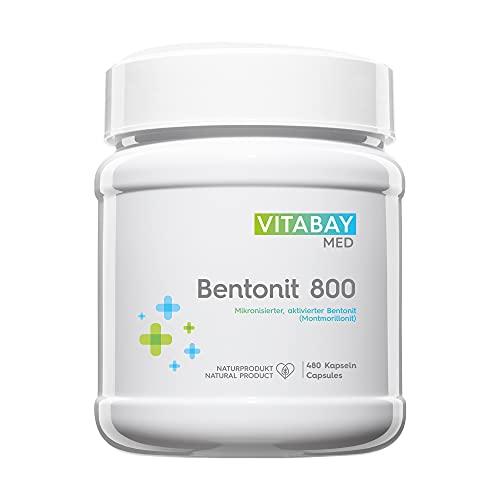Vitabay Bentonit • 480 vegane Kapseln • Bis zu 96% Montmorillonit • Tribomechanisch mikronisiert und aktiviert • Pharmaqualität