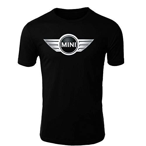 Mini Cooper T-Shirt Logo Clipart Herren CAR Auto Tee TOP Black White Short Sleeves (XL, Black)