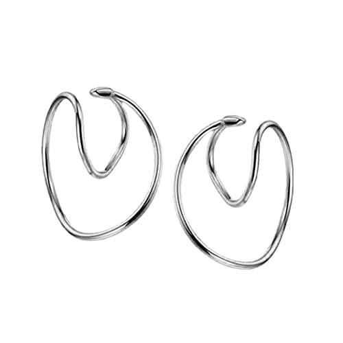Bomoay 1 par de magníficos pendientes de anillo con clips geométricos europeos y americanos, sin agujeros y sin decoloración