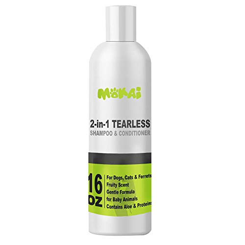 MOKAI Tearless Shampoo for Puppies Kittens & Ferrets | Extra Gentle Shampoo & Conditioner for Fresh & Clean Skin and Coat | Antibacterial Anti Itch Deodorizing Shampoo Protects from Fleas and Ticks