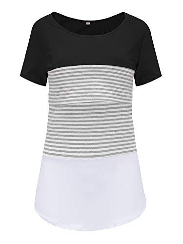 Love2Mi Damen Mutterschaft Spitze gestreift Stillende Oberteile Kurzarm Stitching Stillendes T-Shirt, Schwarz, XL