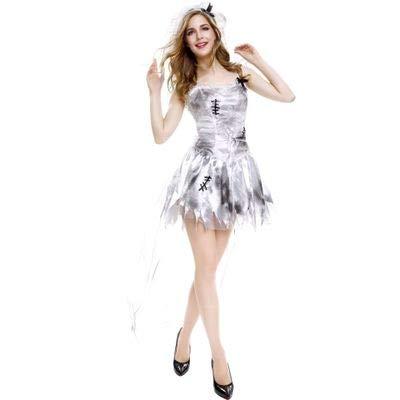Blanco Halloween Miedo Horror Cadver Novia Cosplay Muerto Fantasma Vampiro Zombie Carnaval Disfraz XL A