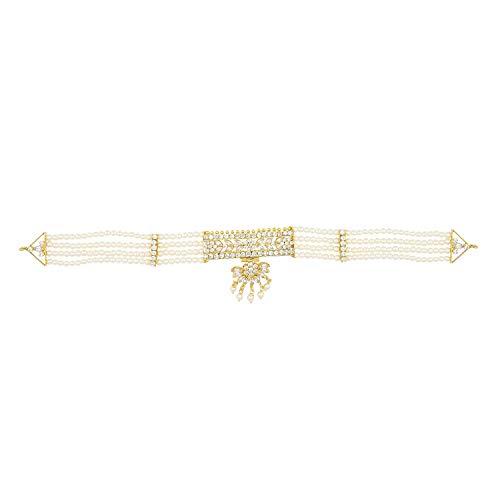 Efulgenz Gold Tone Indian Bollywood etnische Amerikaanse diamant traditionele witte Choker ketting set met oorbellen voor meisjes en vrouwen