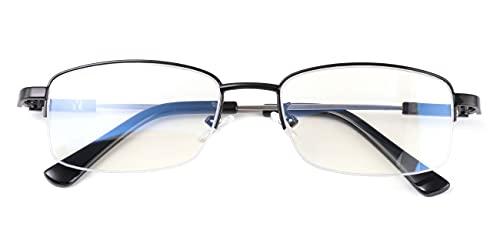 Alsenor Progressive Multifocal Computer Reading Glasses Blue Light Blocking Reader Glasses Frame For Men And Women (Black, 1.5 x)