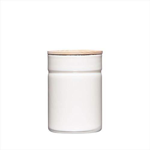 Riess, 2172-212, Vorratsdose mit Eschenholzdeckel, Durchmesser 8 cm, Höhe 12 cm, Inhalt 525 ml, PURE WHITE, KITCHEN-MANAGEMENT, Truehomeware, Emaille