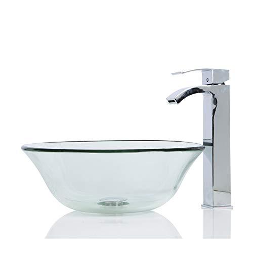 Glas-Waschbecken rund + Ablaufgarnitur