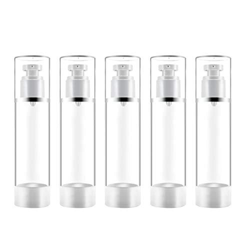 Mobestech 5 Piezas Botellas de Dispensador de Bomba Vacía Jabones de Mano Recargables Contenedores de Viaje para Champú Loción Desinfectante Gel de Ducha 100 Ml
