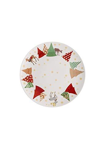 Hutschenreuther Raccolta Serie Canzoni di Natale o Abete Albero Piatti Piani 22cm, Porcellana, Multicolore, 23x 22x 3cm