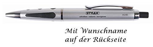 Korrektur Kugelschreiber mit Gravur / radierbar / Farbe: silber-schwarz