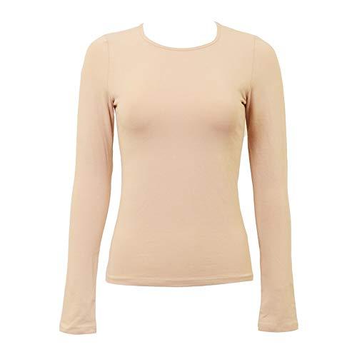 KIKI RIKI Wide Neck Long Sleeve Cotton Shell Style 14653 Nude S