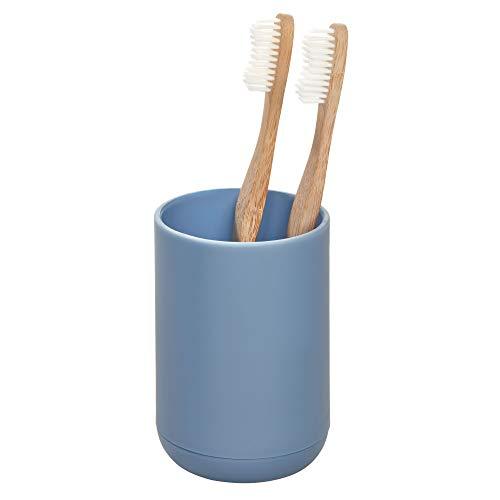 iDesign Zahnbürstenhalterung für 4 Zahnbürsten, kleiner Zahnbürstenhalter aus Kunststoff, runder...