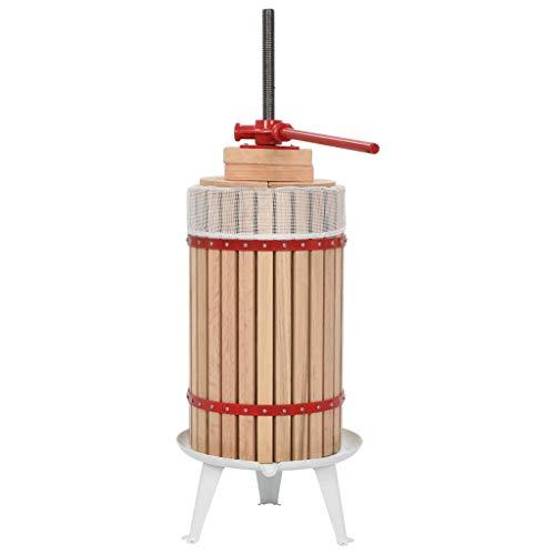 vidaXL Madera Roble Prensa de Vino y Fruta Mosto con Paño de Tela Utensilios Accesorios Cocina Comedor Bar Casa Hogar Menaje Preparación 30 L