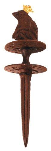 Esschert Design Gartenschlauchführung, Schlauchführung Motiv Froschkönig mit Erdspieß aus Gusseisen, ca. 10 cm x 10 cm x 33 cm