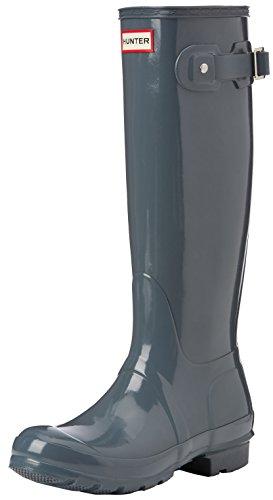 Hunter Original Tall Gloss - Botas de agua Mujer, Gris, 35.5 EU