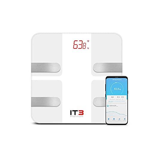 ITB Platinum - Bilancia intelligente ricaricabile USB, con analisi di 12 dati corporei (peso/IMC/Massa grasso/Muscle/Acqua)