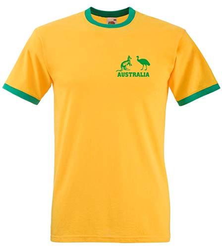 Australien National Rugby / Cricket / Fußball / Fußball / Socceroos Team T-Shirt Trikot - Gelb/Grün, Gelb/Green, L