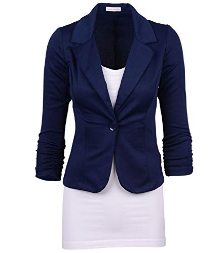 Auliné Collection Women's Casual Work Solid Color Knit Blazer Navy Blue 3X