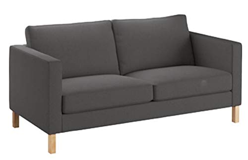 Heavy Cotton Karlstad 2 Seater Loveseat Sofa Cover (Sofa Width: 162CM) Replacement is Made Compatible for IKEA Karlstad Slipcover (Dark Gray)
