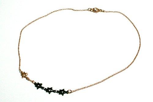 collana girocollo catena con elementi stelline bicolore oro rosa e rutenio (nero).