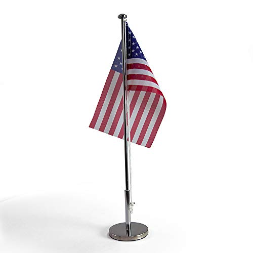 Vispronet Miniature USA Desk Flag and Stand � Height Adjustable 12.6in � 19.7in Telescopic Flagpole with Weighted Base � Flag Size 9.8in x 5.9in