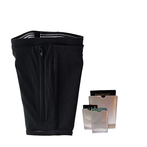 Hidden Travel Leg Wallet Zipper Pockets Under Pants Pouch Conceal Money Protect ID With RFID Passport and Credit Card Sleeves - Small