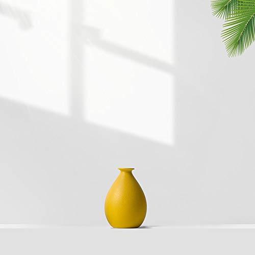 Qeepenl Estilo europeo de escasa florero de la tabla en flores amarillas del florero de la sala de estar de cerámica creativa decoración del ornamento literaria florero suave cargado salvaje nórdica C