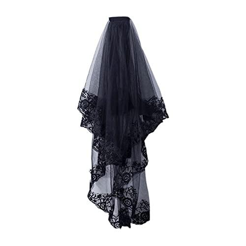 AleXanDer1 Velo de 2 niveles para mujer, disfraz de cosplay negro Mantilla velo de boda bordado floral encaje transparente tul accesorios para el cabello con peine