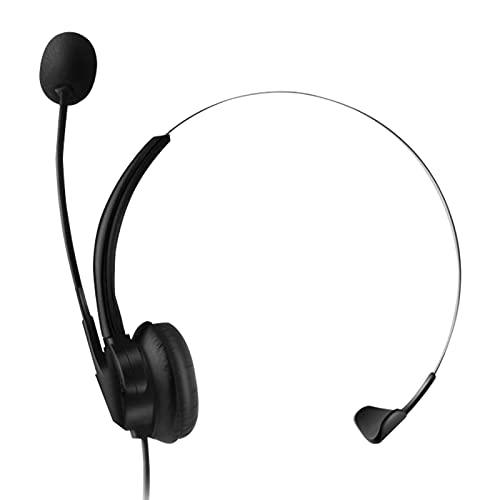 Aibecy Auriculares de centro de llamadas con micrófono Auriculares de un solo lado para colocar sobre la cabeza Con cable USB y micrófono ajustable Botón de control de volumen de silencio