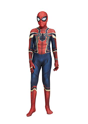 Gakin Iron Spider Man Costumes Adult/Kids Lycra Spandex Superhero Halloween Cosplay Suit (Adult-L) Deep Blue