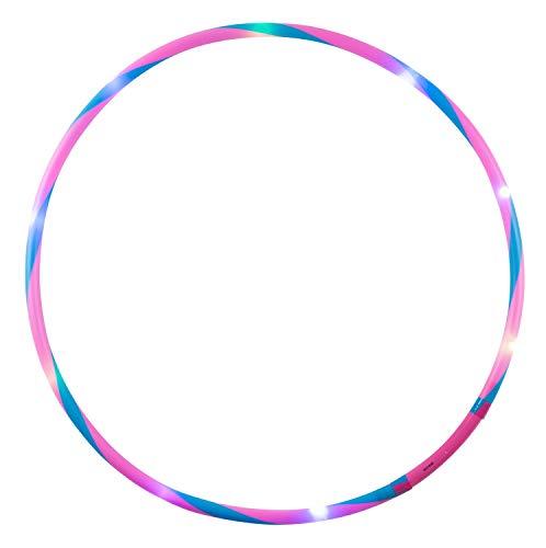 alldoro 63001 Hoop Fun Ø 78 cm, Hoopreifen mit 12 LEDs, Hula Reifen für Sport, Fitness und Gymnastik, Sportreifen mit Licht, für Kinder ab 4 Jahren & Erwachsene, pink/blau