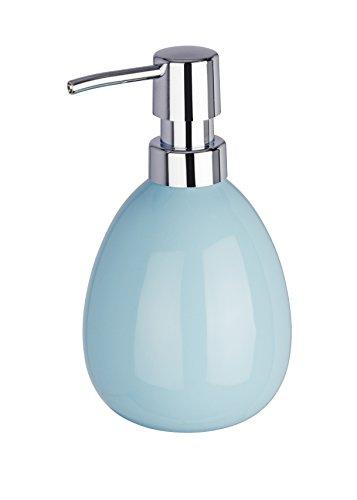 WENKO Seifenspender Polaris, nachfüllbarer Seifendosierer für Flüssigseife und Lotion aus hochwertiger Keramik, 10 x 16,5 x 9,4 cm, Füllmenge 390 ml, Pastell-Blau