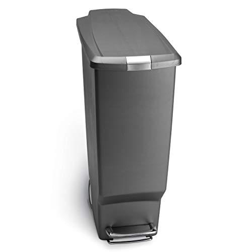 simplehuman 40 Liter / 10.6 Gallon Slim Kitchen Step Trash Can, Grey Plastic With Secure Slide Lock