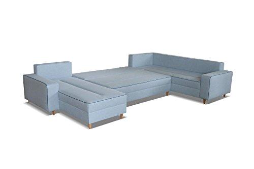 mb-moebel Ecksofa Eckcouch mit Bettkästen mit Schlaffunktion Couch Wohnlandschaft U-Form Polsterecke Blau LACO I mit HOCKER (Ecksofa Rechts) - 3